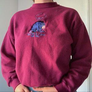 vintage winnie the pooh eeyore maroon sweater